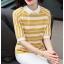 Blouse3679 เสื้อไหมพรมเนื้อนุ่มลายริ้วสลับสีขาว คอปก มีกระดุมคอหลังใส่ง่าย งานถักเนื้อแน่นสวยผ้านุ่มใส่สบายยืดขยายได้เยอะ งานสวยแมทช์ง่าย งานดีใส่สวยใส่สบาย มี 2 สี เหลือง, กรม thumbnail 2