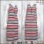 Dress3548 Maxi Dress เดรสยาวคอวีแต่งซิป แขนกุด ผ้าคอตตอนยืดเนื้อนิ่มลายริ้ว สีขาวดำแดง thumbnail 1