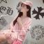 เสื้อตัวยาว/ mini dress สุดน่ารัก ผ้ามีลายในตัว สีชมพูโอรส พร้อมส่ง thumbnail 2