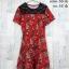 Dress3306 ชุดเดรสแฟชั่น อกลูกไม้สีดำ แขนสั้น ผ้าหนังไก่เนื้อนุ่มยืดได้เยอะ ลายดอกกุหลาบ สีแดง thumbnail 1