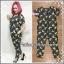 Banana Striped Jumpsuit จั้มสูทกางเกงขายาวพิมพ์ลายทาง+กล้วยา XL อก53 วงแขน24 เอว53 โพก56 ยาว56นิ้ว thumbnail 1