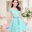 Dress4138 เดรสลูกไม้ทรงสวยสีฟ้าอมเขียว มีผ้าผูกเอว ซิปข้างใส่ง่าย ซับในทั้งชุด ผ้าลูกไม้ยืดเนื้อนุ่มใส่สบาย งานดีทรงดีสีสวย ใส่ออกงานได้สบาย thumbnail 3