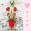 """ตุ๊กตาถัก หมีสตรอเบอร์รี่ 6"""" + สายสตรอเบอร์รี่ thumbnail 2"""