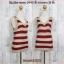 blouse3208 เสื้อแฟชั่น คอวี แขนกุด ผ้าไหมพรมยืดสลับสี โทนสีแดงเลือดหมู thumbnail 1
