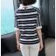 Blouse3679 เสื้อไหมพรมเนื้อนุ่มลายริ้วสลับสีขาว คอปก มีกระดุมคอหลังใส่ง่าย งานถักเนื้อแน่นสวยผ้านุ่มใส่สบายยืดขยายได้เยอะ งานสวยแมทช์ง่าย งานดีใส่สวยใส่สบาย มี 2 สี เหลือง, กรม thumbnail 8
