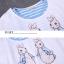 **สินค้าหมด Dress4030 ชุด 2 ชิ้น(เสื้อ+เดรส) เสื้อแขนสั้นเอวรูดพิมพ์ลายกระต่ายสีพื้นขาวครีม เดรสตัวในลายริ้วสีฟ้าขาวมีกระเป๋าข้างผ้าคอตตอนเนื้อนุ่มใส่สบายยืดขยายได้ งานสวยใส่ง่ายน่ารักมาก thumbnail 23