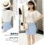 **สินค้าหมด Dress4030 ชุด 2 ชิ้น(เสื้อ+เดรส) เสื้อแขนสั้นเอวรูดพิมพ์ลายกระต่ายสีพื้นขาวครีม เดรสตัวในลายริ้วสีฟ้าขาวมีกระเป๋าข้างผ้าคอตตอนเนื้อนุ่มใส่สบายยืดขยายได้ งานสวยใส่ง่ายน่ารักมาก thumbnail 3