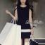 พร้อมส่ง - Dorothy Little Black Dress Pleats Trim Size M : มินิเดรสสีดำตัดขอบขาวที่กระโปรง thumbnail 7