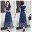 Dress4141 Maxi Dress แม็กซี่เดรสยาวสีพื้นตัดต่อกระโปรงลายดอกไม้โทนสีน้ำเงิน มีซับใน ซิปข้างใส่ง่าย ผ้าชีฟองเนื้อดีนุ่มทิ้งตัวสวย งานดีทรงดี ใส่ออกงานได้ thumbnail 4