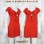 LOT SALE!! Dress2039 เดรสแฟชั่นคอโบว์ผ้าคอตตอนเนื้อดีนุ่มยืดขยายได้เยอะ สีส้มอิฐ thumbnail 1