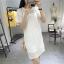 Dress4114 ชุดเดรสลูกไม้ลายสวยสีพื้นขาว มีสายเดี่ยวตัวใน ผ้าลูกไม้คอตตอนเกรดพรีเมียมเนื้อดีหนาสวยอยู่ทรง งานดีทรงดีใส่สวย thumbnail 1