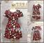 Dress Apple เดรสผ้าแคนวาส หัวไหล่จีบ ลายแอพเปิ้ลลน่ารักกๆ 2XL รอบอก49 วงแขน23 เอว36-42 โพก60 ยาว37นิ้ว thumbnail 1