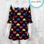 Dress3251 Big Size Dress ชุดเดรสแฟชั่นไซส์ใหญ่ อกลูกไม้ถักสีขาว แขนสามส่วนระบาย ผ้าหนังไก่เนื้อนุ่มยืดได้เยอะ ลายหัวใจพื้นสีดำโทน 2 รอบอก 40 นิ้ว thumbnail 1