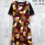 Dress3313 ชุดเดรสแฟชั่น แขนลูกไม้สีดำ ผ้าหนังไก่เนื้อนุ่มยืดได้เยอะ ลายสับปะรด สีแดงเลือดหมู thumbnail 1