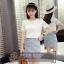 **สินค้าหมด Set_bs1477 ชุด 2 ชิ้น(เสื้อ+กระโปรง)แยกชิ้น เสื้อลูกไม้คอตตอนเนื้อหนาสวยมีซับในอย่างดีสีขาว+กระโปรงป้ายซิปหลังผ้ายีนส์นิ่มลายดอกไม้โทนสีฟ้า งานน่ารักผ้าเนื้อดีเกรดพรีเมี่ยมดูหรูดูแพงสวยเกินราคา รุ่นนี้ได้ไปถูกใจแน่นอนจ้า thumbnail 3