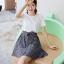**สินค้าหมด Dress4100-Size-XL เดรสน่ารักผ้าคอตตอนเนื้อหนานุ่มสีพื้นขาว ตัดต่อกระโปรงผ้าทอญี่ปุ่นลายสก็อตโทนสีขาวดำ thumbnail 2
