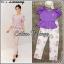 """ชุด Set เสื้อ+ กางเกง เสื้อใส่เปิดไหล่รึปิดไหล่ก้อได้ แขนตุ๊กตาน่ารัก จับคู่กับกางเกงขายาวผ้าทอลายดอก L เสื้อ / อก50 กางเกง / เอว35-41 โพก51 ยาว38"""" thumbnail 1"""