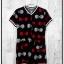 Jumpsuit636 Big Size Jumpsuit จัมพ์สูทไซส์ใหญ่ คอวี ซิปหน้า ผ้าหนังไก่เนื้อนุ่มลายโบว์ขาวแดง พื้นสีดำ thumbnail 1