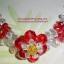 (ขายแล้วค่ะ) L01 สร้อยข้อมือถักรูปดอกไม้สีแดง คริสตัลโมดาร์ thumbnail 1