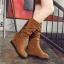 Boots รองเท้าบูท หนังสักกะหลาด สีน้ำตาลอ่อนเสริมส้นและบุผ้าสพลีด้านใน ใส่แล้วเซอร์ วินเทจมากค่าาา thumbnail 2