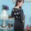 NEW เดรสผ้าอิตาลี่คอหยักลายดอกแขนสามส่วน กระโปรงฮานาโก๊ะ ซิปซ้อนด้านหลัง (ซับในไฮเกรดทั้งชุด) thumbnail 4