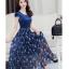 Dress4141 Maxi Dress แม็กซี่เดรสยาวสีพื้นตัดต่อกระโปรงลายดอกไม้โทนสีน้ำเงิน มีซับใน ซิปข้างใส่ง่าย ผ้าชีฟองเนื้อดีนุ่มทิ้งตัวสวย งานดีทรงดี ใส่ออกงานได้ thumbnail 5