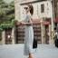 Maxi Dress แม็กซี่เดรสยาว สีเทา โชว์หลัง มาพร้อมเกาะอกสีดำ เก๋ไก๋สุดๆ ผ้าเนื้อดี ทิ้งตัว thumbnail 6