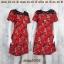 Dress3306 ชุดเดรสแฟชั่น อกลูกไม้สีดำ แขนสั้น ผ้าหนังไก่เนื้อนุ่มยืดได้เยอะ ลายดอกกุหลาบ สีแดง thumbnail 2