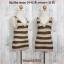 Blouse3206 เสื้อแฟชั่น คอวี แขนกุด ผ้าไหมพรมยืดสลับสี โทนสีน้ำตาล thumbnail 1