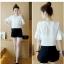 **สินค้าหมด Set_bp1548 ชุด 2 ชิ้น(เสื้อ+กางเกง) เสื้อแขนสามส่วนระบายอกแต่งลูกไม้ผ้าชีฟองเนื้อนุ่มสีพื้นขาว+กางเกงขาสั้นเอวยืดผ้าคอตตอนเนื้อดีสีพื้นดำ งานสวยน่ารักผ้าเนื้อดีนุ่มใส่สบาย ผ้าสวยเกินราคา แมทช์กันได้อย่างลงตัว thumbnail 7