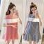 **สินค้าหมด Dress4157 เดรสทรงปล่อยเว้าไหล่แต่งระบายสีขาวช่วงอก ผ้าคอตตอนลายริ้วเนื้อดีนุ่มใส่สบาย งานสวยใส่ง่ายน่ารักมาก ทรงนี้มีติดตู้ไว้ใส่ได้เรื่อยๆ มี 2 สี แดง, กรม thumbnail 1