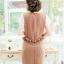 New ชุดเดรสผ้าชีฟองเนื้อทรายแต่งผ้าแก้วลายดอก กระโปรงชีฟองเอวระบาย(มีซับไฮเกรดทั้งชุดครับ) thumbnail 4