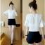 **สินค้าหมด Set_bp1548 ชุด 2 ชิ้น(เสื้อ+กางเกง) เสื้อแขนสามส่วนระบายอกแต่งลูกไม้ผ้าชีฟองเนื้อนุ่มสีพื้นขาว+กางเกงขาสั้นเอวยืดผ้าคอตตอนเนื้อดีสีพื้นดำ งานสวยน่ารักผ้าเนื้อดีนุ่มใส่สบาย ผ้าสวยเกินราคา แมทช์กันได้อย่างลงตัว thumbnail 3