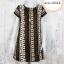 Dress3244 ชุดเดรสแฟชั่นผ้ามิลิน(ผ้าทอหนาเนื้อดี)ลายทางดอกไม้กราฟฟิค โทนสีเขียวน้ำตาล thumbnail 1