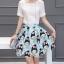 Skirt304 กระโปรงลายการ์ตูนโทนสีฟ้าแต่งชายเคิร์ฟ ซิปหลัง มีซับใน ผ้าเนื้อดี งานน่ารัก แมทช์กับเสื้อได้หลายแบบ thumbnail 1
