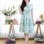 เดรสทรงซาร่าผ้ามิลินลายดอก + แถมผ้าคาดเอว ซิปซ้อนด้านหลัง(ซับในไฮเกรดทั้งชุด) thumbnail 1