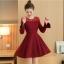 **สินค้าหมด Dress3757 ชุดเดรสแขนยาวระบาย แต่งผ้าลูกไม้ช่วงอกและแขน สีไวน์แดง งานสวยหรูตามแบบ ใส่ออกงานได้ แนะนำเลยจ้า thumbnail 1