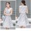 **สินค้าหมด Dress3802 เดรสยาวคลุมเข่า ผ้าซาตินซิลค์เนื้อหนาสวยลายดอกไม้พื้นสีขาว งานตัดเย็บอย่างดี มีซับในทั้งชุด แบบสวยหวานน่ารักมาก thumbnail 8