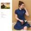 **สินค้าหมด Dress4033 เดรสคอปกกระดุมหน้ามีผ้าผูกเอว หน้าอกปักอาร์มเพิ่มความน่ารัก ผ้าคอตตอนผสมโพลีสีพื้นเนื้อดีหนาสวยเกรดพรีเมียม งานน่ารัก ใส่เก๋ๆ ได้บ่อยจ้า (สีพื้นกรมท่า) thumbnail 5