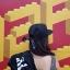 หมวกทรงฮิปฮอป ผ้าชาลีสีดำ แต่งโบว์เก๋ๆด้านหลัง thumbnail 1