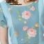 Newเดรสผ้าโอซาก้าแต่งด้วยผ้าแคนวาสลายดอกไม้ แต่งระบายเอว (มีซับในไฮเกรดทั้งตัวค่ะ) thumbnail 2