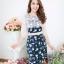 NEW เดรสผ้าอิตาลี่ลายดอกกุหลาบ แต่งลูกไม้ท่อนบนแขนลูกไม้ (มีซับไฮเกรดทั้งชุด) thumbnail 3