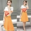 Skirt300 กางเกงกระโปรงผ้าหนาเนื้อดีมีน้ำหนักสีส้ม thumbnail 1