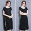Dress4062 Big Size เดรสยาวทรงปล่อยไซส์ใหญ่สีพื้นดำแต่งขอบสีเทาเมทัลลิค ผ้าซาร่าเนื้อหนาเงาสวยมีน้ำหนักทิ้งตัว ผ้านุ่มใส่สบายมาก งานดีเหมือนราคาหลักพัน แบบสวยเรียบหรูใส่ได้ทุกโอกาส thumbnail 12