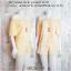 Set_bp709 ชุดเซ็ท 2 ชิ้น(เสื้อ+กางเกง) เสื้อเปิดไหล่แขนสามส่วน+กางเกงขาสั้นเอวยืด ผ้าไหมอิตาลีลายจุดคัลเลอร์ฟูลพื้นสีครีม thumbnail 1