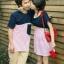 ชุดคู่รัก เกาหลี สีกรม+ขาวแดง ชุดผู้หญิงทรงน่ารัก ราคา/คู่ thumbnail 1