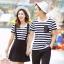 ชุดคู่รัก ลายขวางขาวดำ พร้อมส่ง เชุดผู้หญิงเป็นเอี๊ยมกระโปรง+เสื้อ น่ารัก ผู้ชายเป็นเสื้อยืดลายขวางเข้ากัน ^^ thumbnail 3
