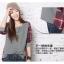 เสื้อผ้าแฟชั่นสไตส์เกาหลี เสื้อแขนยาว พร้อมส่ง ด้านหน้าสีเทา ด้านหลังแต่งลายสก็อตสีโทนแดงน้ำเงิน thumbnail 2