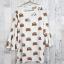 Dress3446 Big Size Dress ชุดเดรสแฟชั่นไซส์ใหญ่คอลูกไม้ถัก แขนกระดิ่ง ผ้าหนังไก่เนื้อนุ่มยืดได้เยอะ ลายหมีพื้นสีขาว thumbnail 1