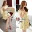 พร้อมส่ง - Size M Lady Daisy Ribbon Off-shoulder Mini dress : มินิเดรสเปิดไหล่โบว์ลายดอกเดซี่โทนสีเหลือง thumbnail 2